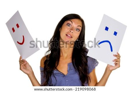 a woman can not decide whether she should laugh or cry - stock photo