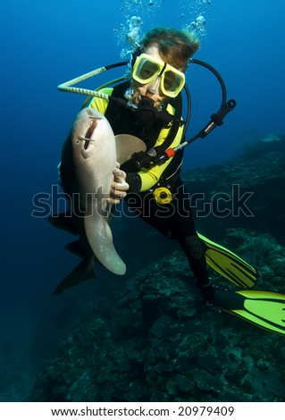 A woman diver is hypnotizing a nurse shark by stroking its belly.