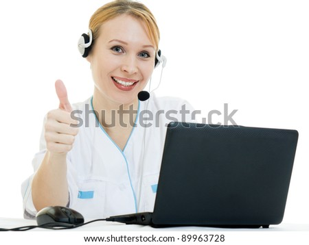 A woman doctor operator on a white background. - stock photo