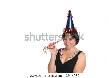 A woman during a party celebration isolated against a white background.