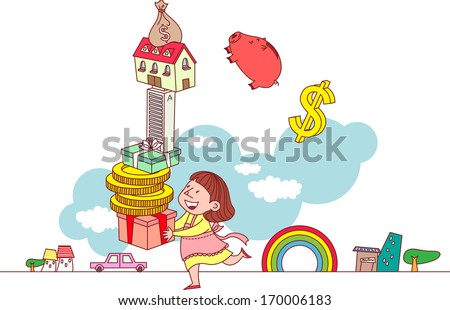 A woman enjoying her possessions like money and gifts.