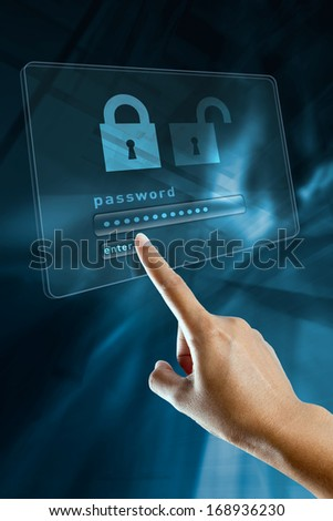 a woman finger sign a password on a digital screen