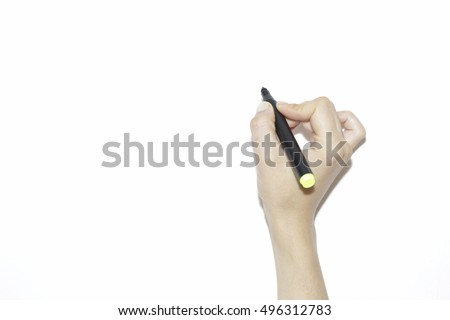 A woman hand writing with a black marker isolated on a pure white background