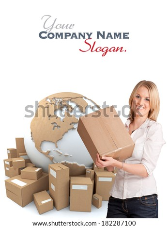 A woman holding a box with the world surrounded by packages in the background  - stock photo