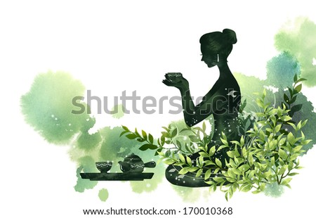 A woman holding a cup from a tea set in front of her. - stock photo