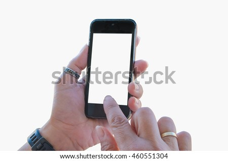 A woman holds a mobile phone with one hand and with the other touch in the blank multitouch screen. Isolated