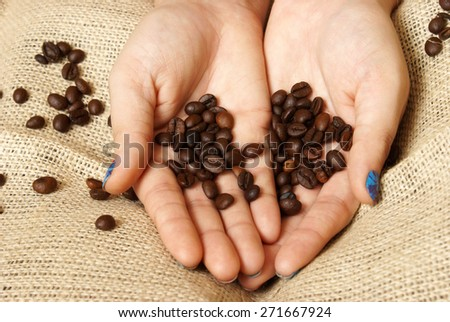 A woman holds coffee beans in the palm of her hands. - stock photo