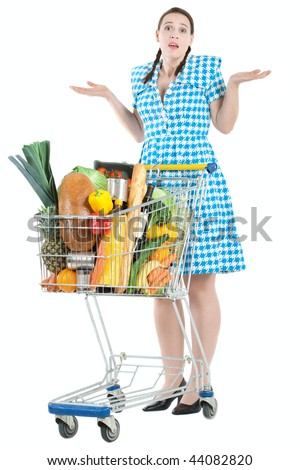 A woman in a domestic role shrugging her shoulders in confusion - stock photo