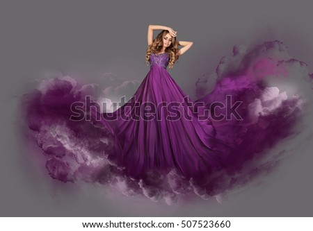 A woman in a dress in the clouds. Digital art.