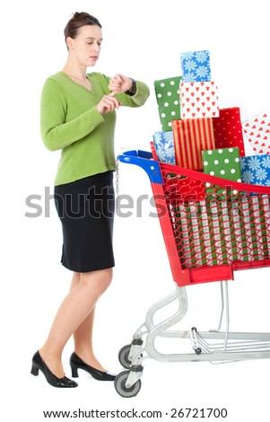 A woman in a shopping scenario running late for something.