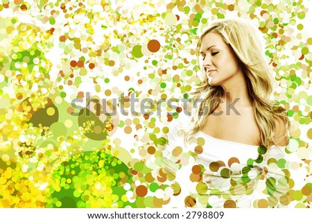 a woman in and around summer bubbles - stock photo
