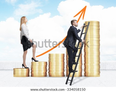 A woman in formal clothes is going up through a stairs which are made of golden coins, while a man has found a shortcut how to reach the final point. A concept of success. Cloudy sky background. - stock photo