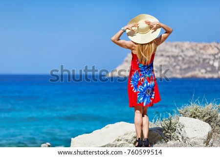 A woman in Fragolimnionas beach of Karpathos, Greece