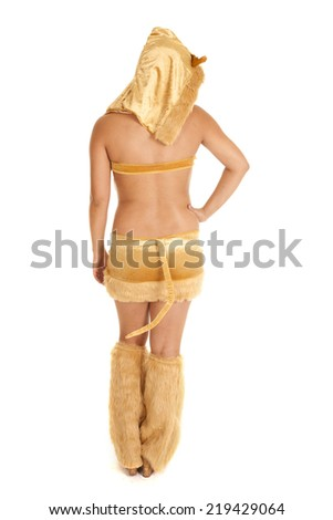 A woman in her kangaroo costume showing off her tail. - stock photo