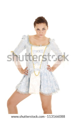 A woman in her vintage dress with her cameo with a serious expression on her face. - stock photo