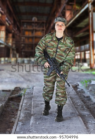 A woman in military operation - production photos - stock photo