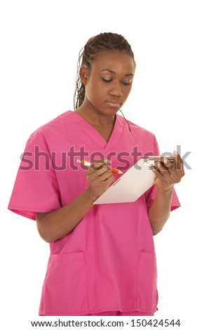 A woman in pink scrubs with a chart.