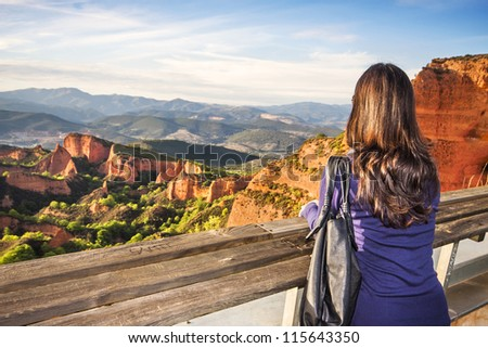 A woman in the viewpoint of Orellan, Las Medulas (UNESCO), Spain - stock photo