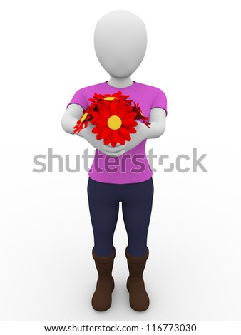 a woman is giving a bunch of flowers - stock photo