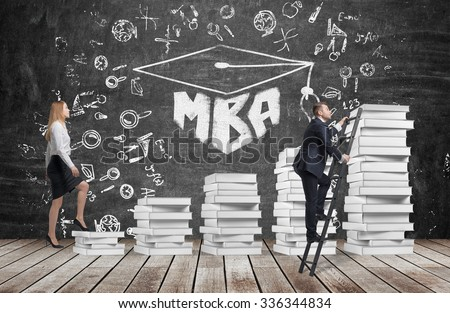 A woman is going up using a stairs which are made of white books to reach graduation hat, while a man has found a shortcut to get MBA degree. A black chalkboard with the written word MBA. - stock photo