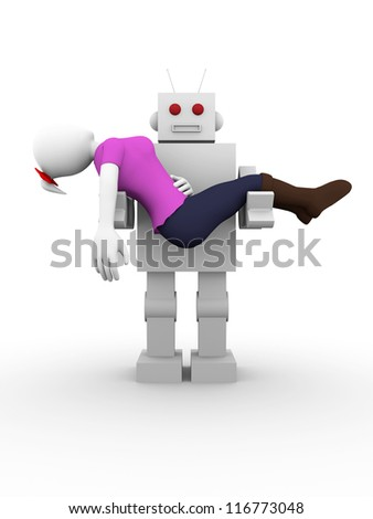 A woman is kidnapped by an old fashionedrobot - stock photo
