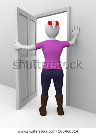 A woman is opening a door. Security concept - stock photo