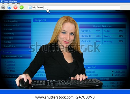 A woman is working on a computer and the point of view is through the monitor.