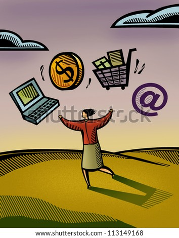 A woman juggling her web-based business - stock photo