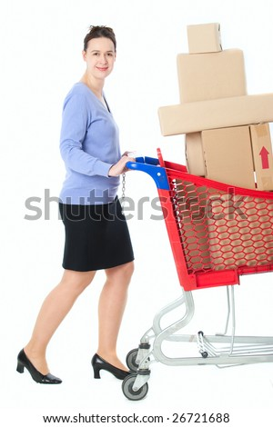 A woman looking happy shopping - on white - stock photo