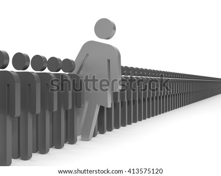A woman looks out from the crowd - stock photo