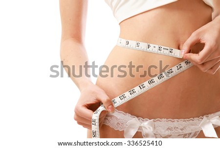 A woman measuring her waist