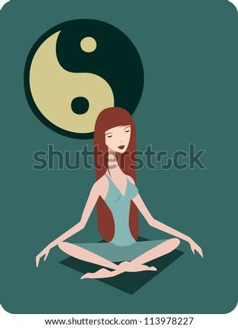 A woman meditating in the lotus position in front of a yin yang symbol