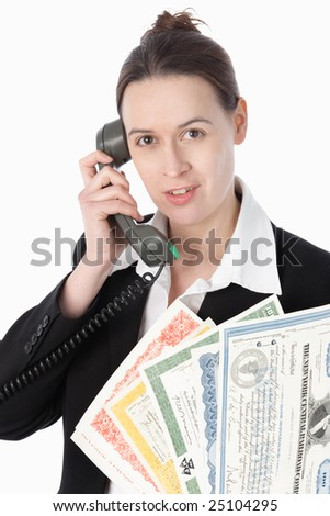 A woman on the line with a selection of bonds on a white background.