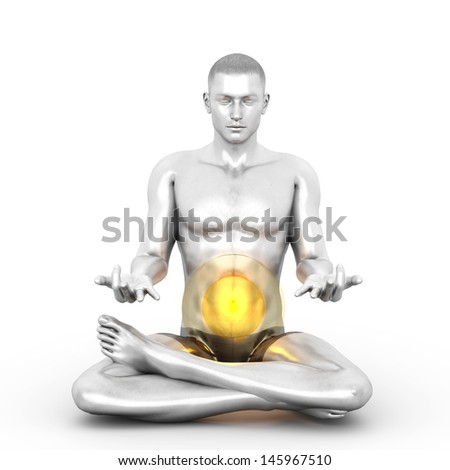 A woman performing a Manipura chakra meditation. 3D rendered illustration.  - stock photo