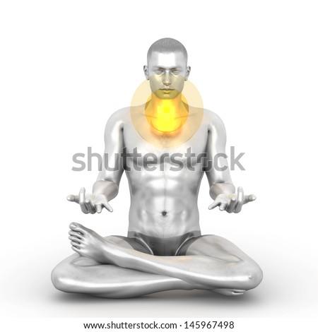 A woman performing a Visudda chakra meditation. 3D rendered illustration.  - stock photo