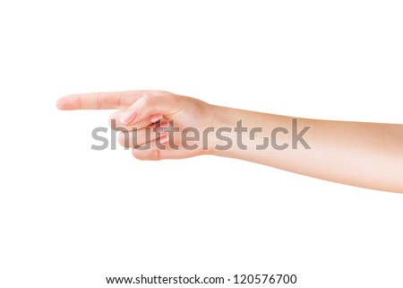 A woman points a finger at copyspace isolated on white background