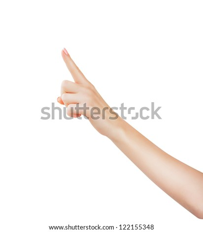 A woman points a finger upwards at Copyspace on a white background - stock photo