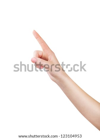 A woman points a finger upwards at Copyspace on a white background