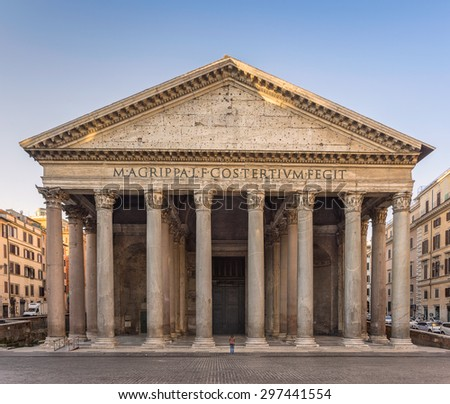 A woman praying in front of the Pantheon in Rome - stock photo