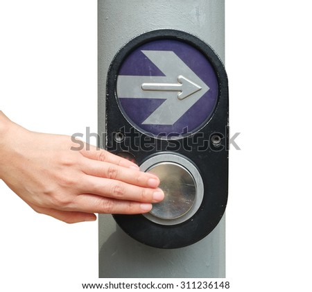 A woman pushing button for traffic light, isolated on white background