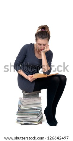 A woman reading book isolated on white background. Concept of education.