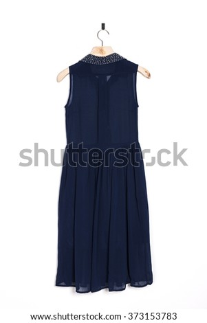 A woman's blue one piece on the wall isolated white.