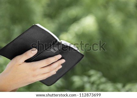 A woman's hand holding the bible while reading outside in nature