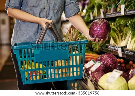 a woman shopping at a grocery store - stock photo