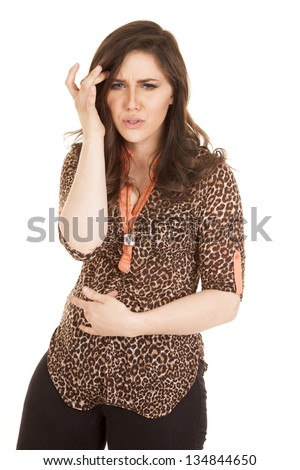 A woman showing that she is not feeling very good she feels sick. - stock photo