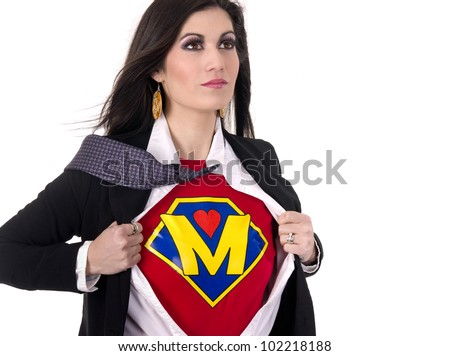 A Woman shows her Super Mother Superhero Uniform underneath her street clothes - stock photo