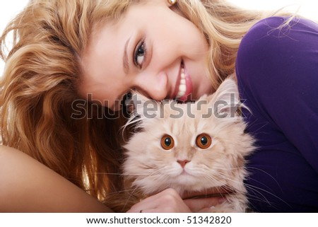 A woman squeezing her kitty - stock photo