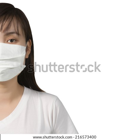 A woman  wearing a face mask on isolated - stock photo
