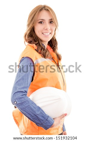 A woman wearing protective equipment