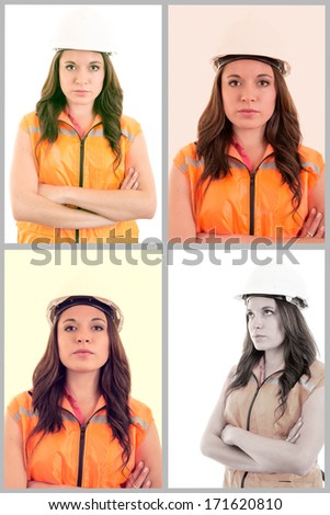A woman wearing protective equipment - stock photo